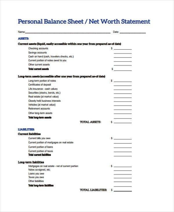 Personal Balance Sheet Template 10 Balance Sheet Templates Free Sample Example format