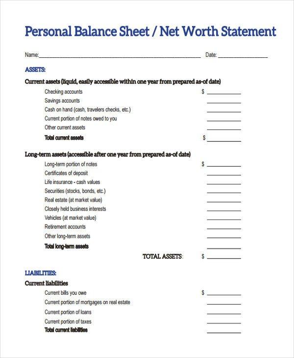 Personal Balance Sheet Template 28 Sheet Templates In Pdf