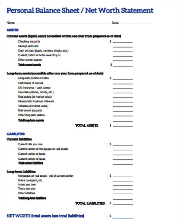 Personal Balance Sheet Template Personal Balance Sheet 7 Examples In Word Pdf