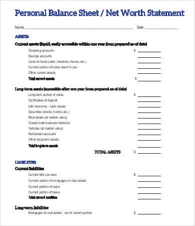 Personal Balance Sheet Template Personal Balance Sheet Template 16 Free Word Excel