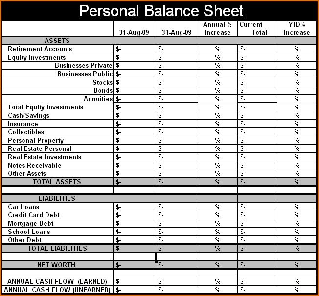 Personal Balance Sheet Template Personal Balance Sheet Template