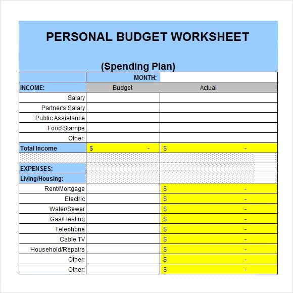 Personal Budget Templates Excel 6 Sample Personal Bud Documents In Pdf Word Excel