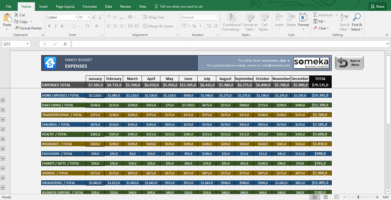 Personal Budget Templates Excel Family Bud Template In Excel