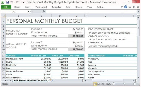Personal Budget Templates Excel Free Personal Monthly Bud Template for Excel