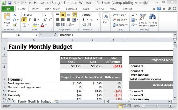 Personal Budget Templates Excel Household Bud Template Worksheet for Excel