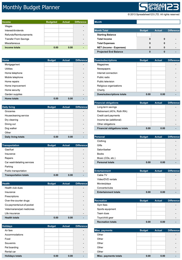 Personal Budget Templates Excel Monthly Bud Planner