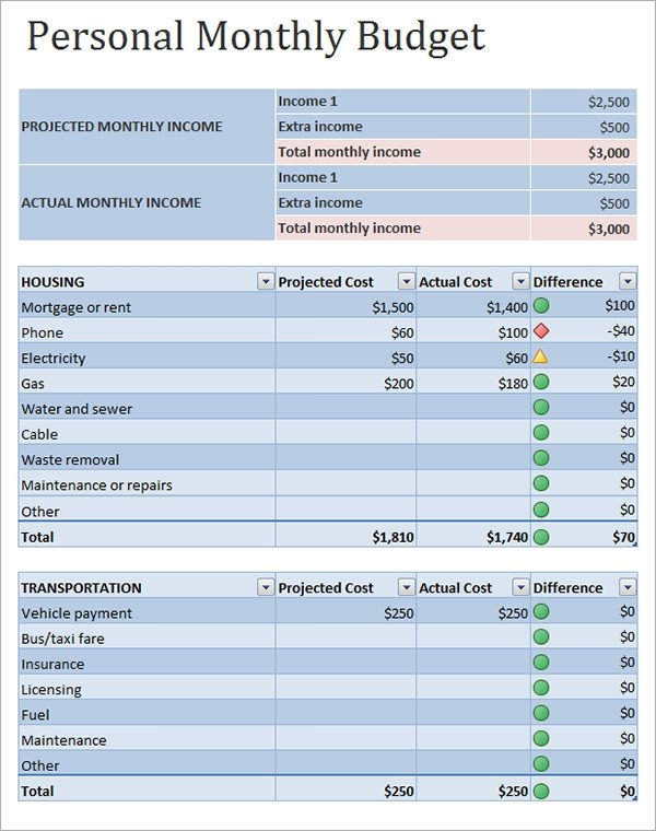Personal Budget Templates Excel Personal Bud Sample 12 Documents In Pdf Word Excel