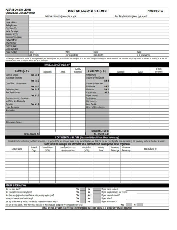 Personal Financial Statement Worksheet 13 Personal Financial Statement Samples & Templates