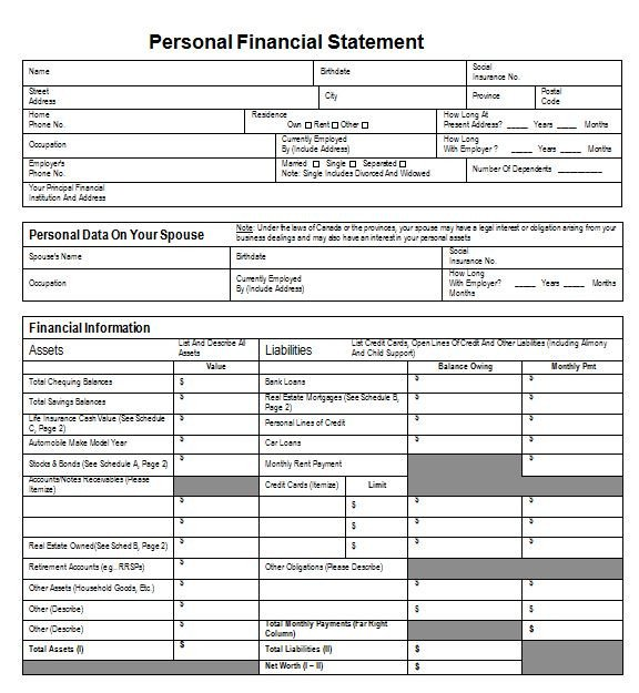 Personal Financial Statement Worksheet 40 Personal Financial Statement Templates & forms