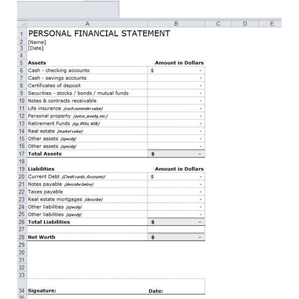 Personal Financial Statement Worksheet E Stop Guide to Financial forecasting Including Free