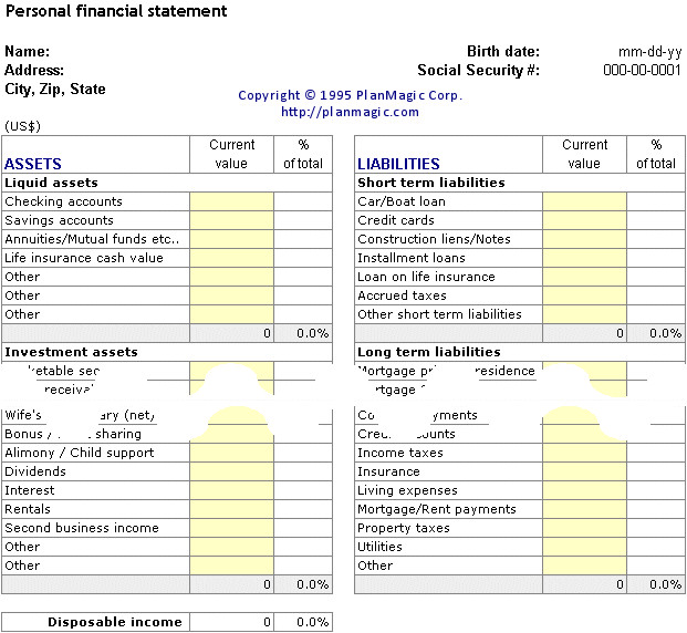 Personal Financial Statement Worksheet Line Business Plan Bonus tools