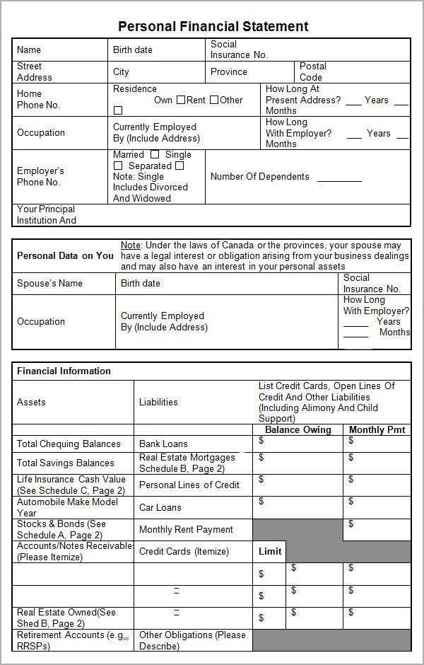 Personal Financial Statement Worksheet Personal Financial Statement Templates 15 Download Free