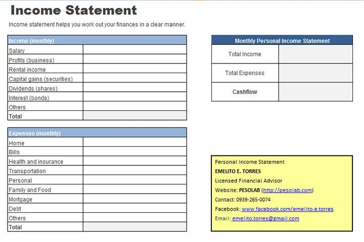 Personal Financial Statement Worksheet Personal In E Statement Worksheet Pesolab