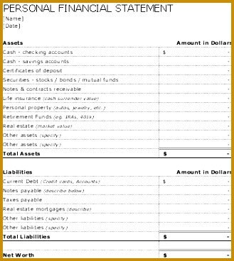 Personal Financial Statement Worksheet Personal Net Worth Statement Template Canada