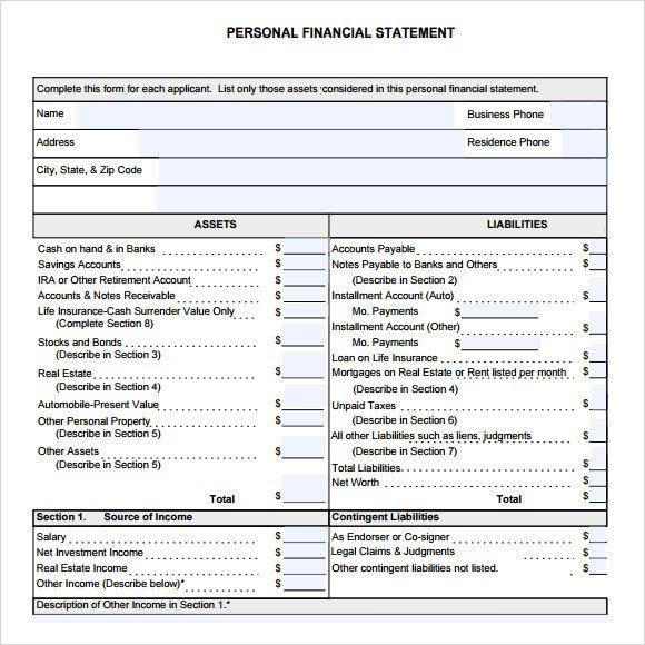 Personal Financial Statement Worksheet Sample Financial Summary 7 Documents In Pdf