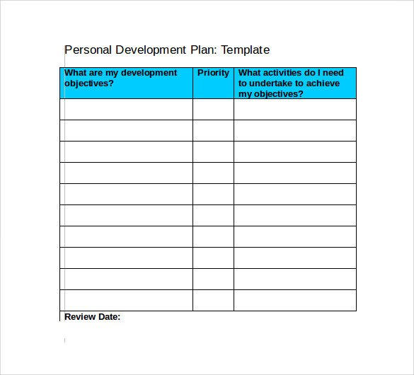 Personal Improvement Plan Template Sample Development Plan Template 11 Free Documents In