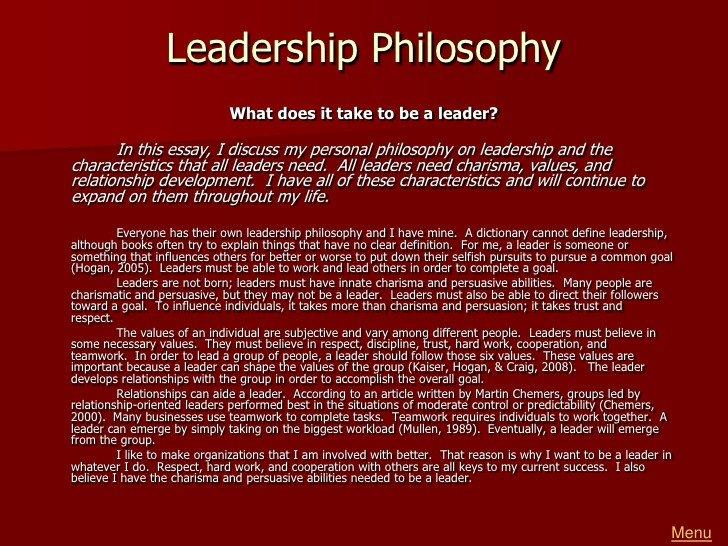 Personal Leadership Philosophy Examples Greg Reeder Portfolio[1]