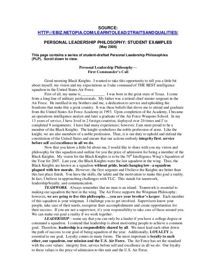 Personal Leadership Philosophy Examples Personal Leadership Example