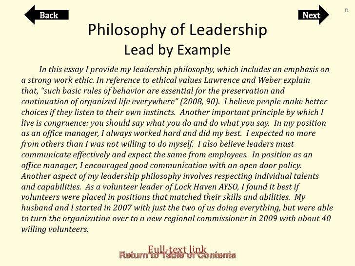 Personal Leadership Philosophy Examples Portfolio Cheryl orndorf