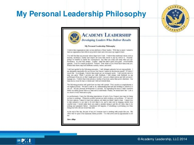 Personal Leadership Philosophy Examples the Leader S Pass A Personal Leadership Philosophy is