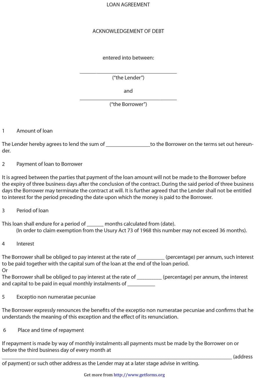 Personal Loan Documents Template 40 Free Loan Agreement Templates [word & Pdf] Template Lab