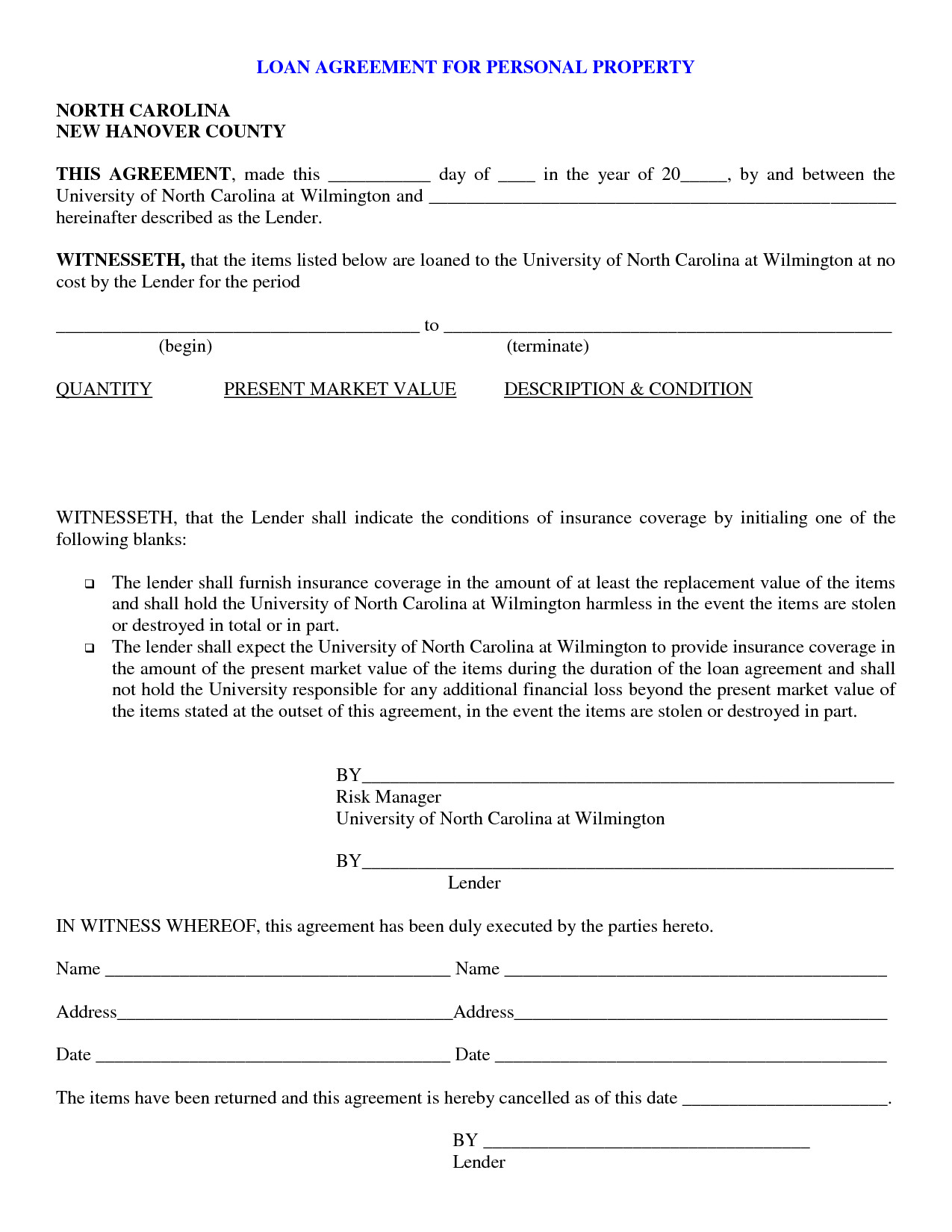 Personal Loan Documents Template Free Printable Personal Loan Contract form Generic