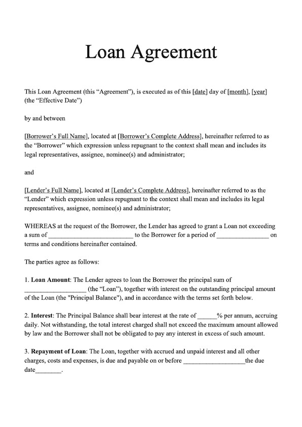 Personal Loan Documents Template Loan Agreement Template