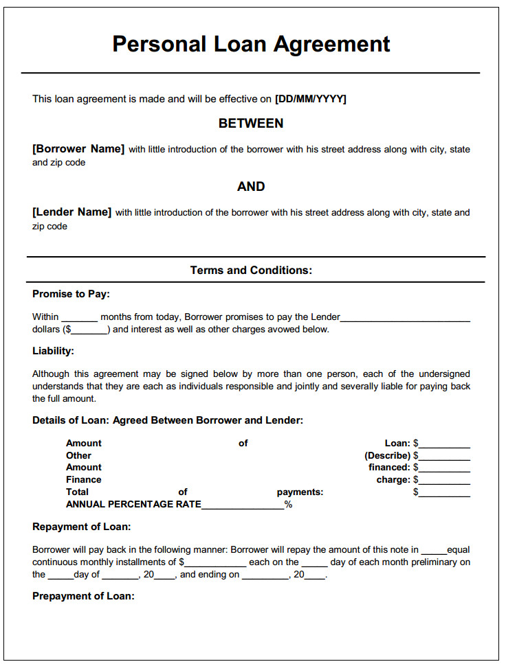 Personal Loan Documents Template Personal Loan Agreement