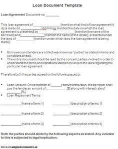 Personal Loan Documents Template Printable Sample Personal Loan Agreement form