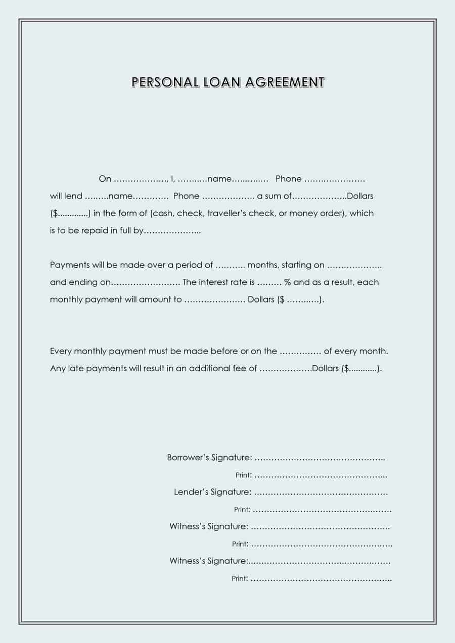 Personal Loan form Template 40 Free Loan Agreement Templates [word & Pdf] Template Lab