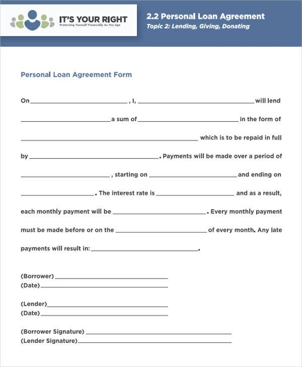 Personal Loan form Template 44 Agreement form Samples Word Pdf