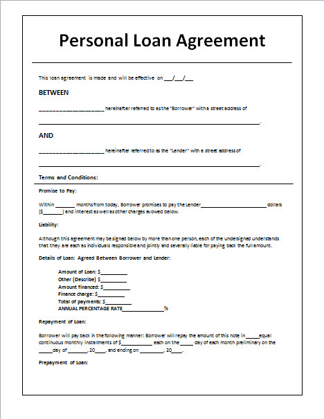 Personal Loan form Template 45 Loan Agreement Templates & Samples Write Perfect