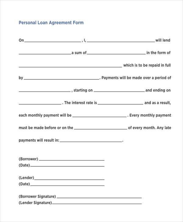 Personal Loan form Template 7 Personal Loan Agreement form Samples Free Sample