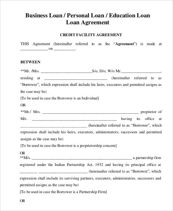 Personal Loan form Template Personal Loan Agreement Template