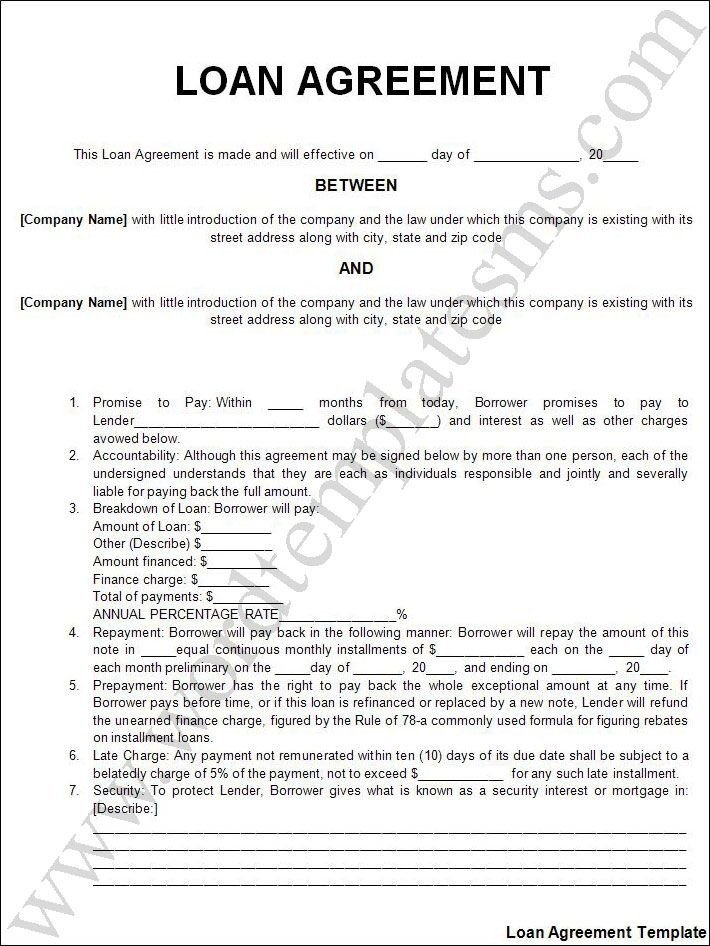 Personal Loan form Template Printable Sample Personal Loan Agreement form