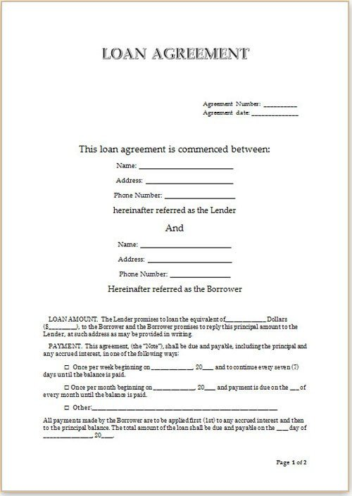 Personal Loan form Template Simple Loan Agreement