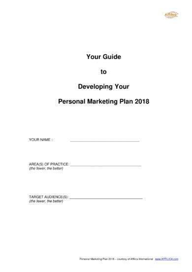 Personal Marketing Plan Example 10 Personal Marketing Plan Examples Pdf Word Docs