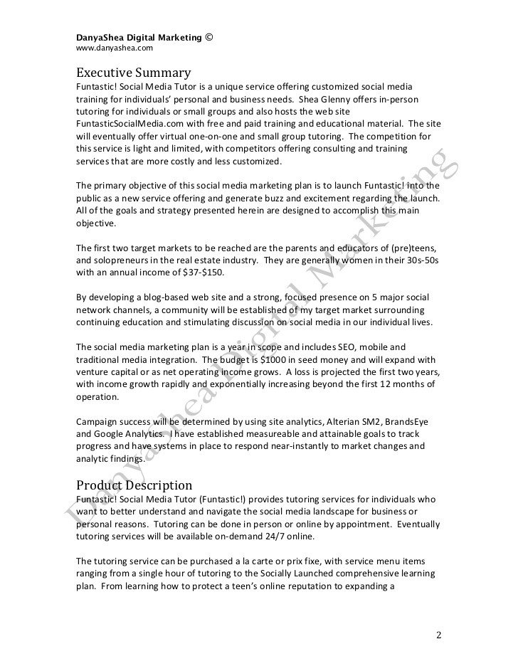 Personal Marketing Plan Example social Media Marketing Plan Sample