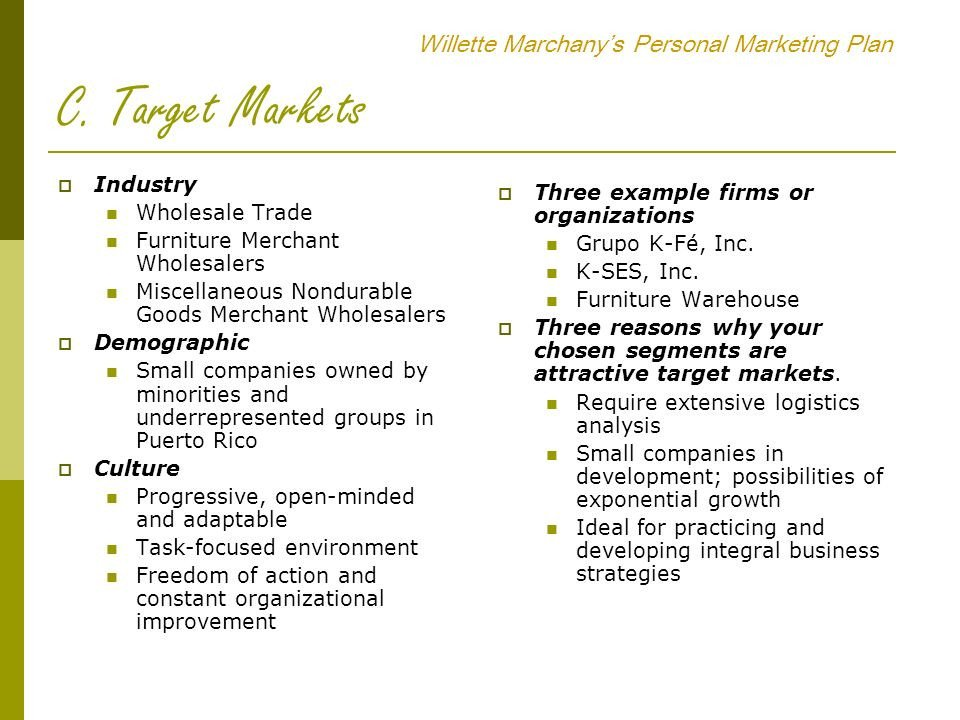 Personal Marketing Plan Example Willette Marchany's Personal Marketing Plan Ppt Video