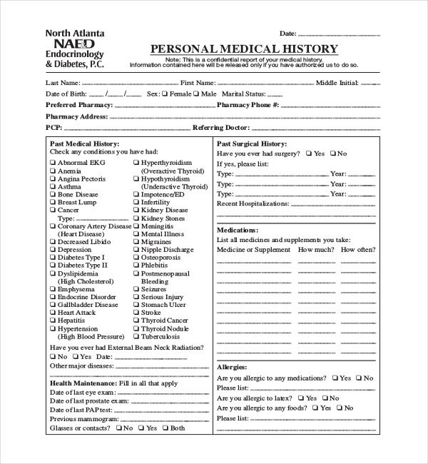 Personal Medical History Template 21 Sample Medical History forms