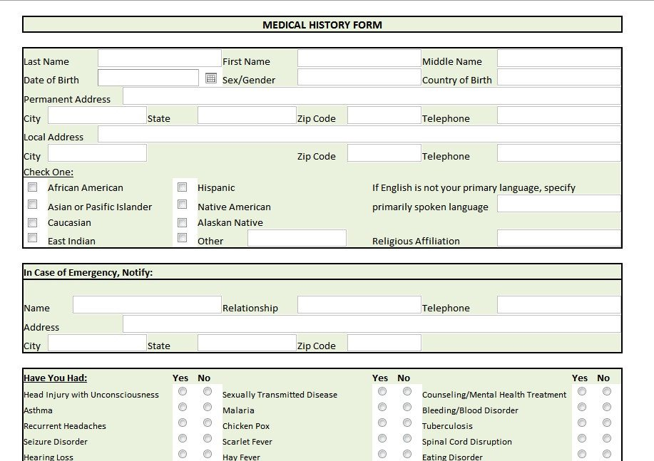 Personal Medical History Template 28 Of Personal Medical History form Template