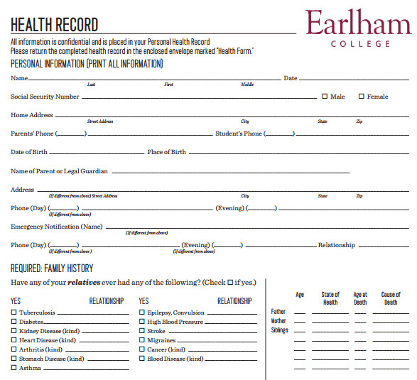 Personal Medical History Template 4 Personal Medical Health Record Sheets – Word Templates