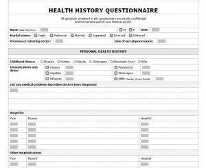 Personal Medical History Template Health History Questionnaire Template Word Templates