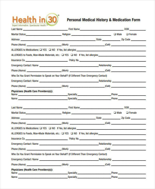 Personal Medical History Template Medical History form 9 Free Pdf Documents Download