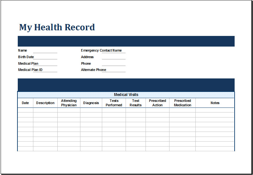 Personal Medical History Template Ms Excel Personal Medical Health Record Template