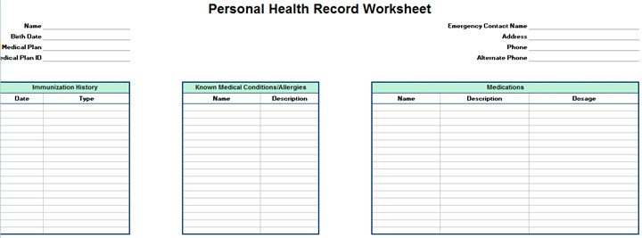 Personal Medical History Template Personal Family Medical Health Record Worksheet Excel