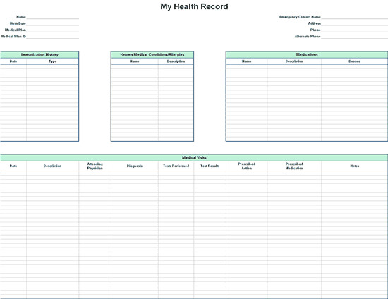 Personal Medical History Template Personal Health Record
