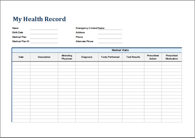 Personal Medical History Template Personal Medical Health Record Sheet