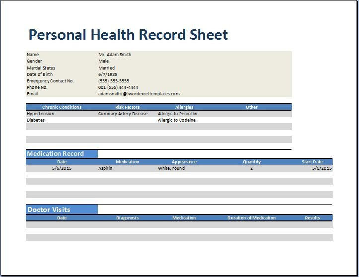 Personal Medical History Template Personal Medical Health Record Worksheet Template
