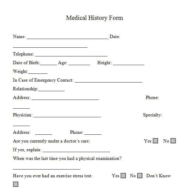 Personal Medical History Template Printable Medicalhistory forms In Word and Pdf format